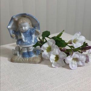 Enesco White, Delft Blue Girl w/Umbrella, Dog Fig.